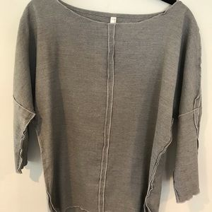Anthropologie Nuthatch Grey Linen Top